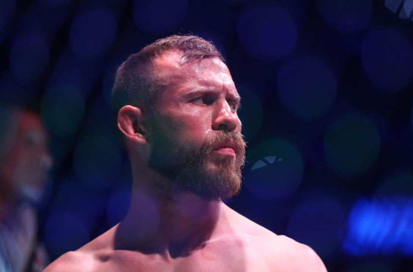 January 18, 2020; Las Vegas, Nevada, USA; Donald Cerrone is introduced before fighting Conor McGregor during UFC 246 at T-Mobile Arena. Mandatory Credit: Mark J. Rebilas-USA TODAY Sports