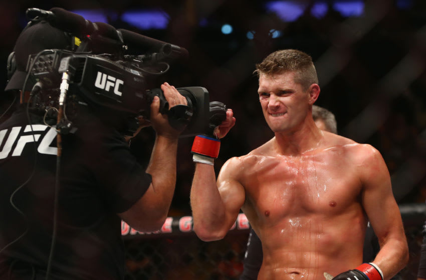 NEW YORK, NY - NOVEMBER 04: Stephen Thompson reacts during his welterweight bout against Jorge Masvidal during the UFC 217 event at Madison Square Garden on November 4, 2017 in New York City. (Photo by Mike Stobe/Getty Images)
