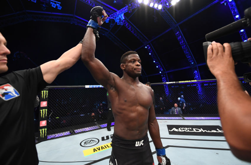 ABU DHABI, UNITED ARAB EMIRATES - OCTOBER 24: In this handout image provided by UFC, Phillip Hawes celebrates his KO victory over Jacob Malkoun of Australia in their middleweight bout during the UFC 254 event on October 24, 2020 on UFC Fight Island, Abu Dhabi, United Arab Emirates. (Photo by Josh Hedges/Zuffa LLC via Getty Images)