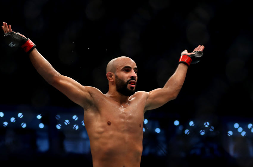 ABU DHABI, UNITED ARAB EMIRATES - SEPTEMBER 07: Ottman Azaitar of Morocco celebrates victory against Teemu Packalen of Finland in their Lightweight Bout during the UFC 242 event at The Arena on September 07, 2019 in Abu Dhabi, United Arab Emirates. (Photo by Francois Nel/Getty Images)