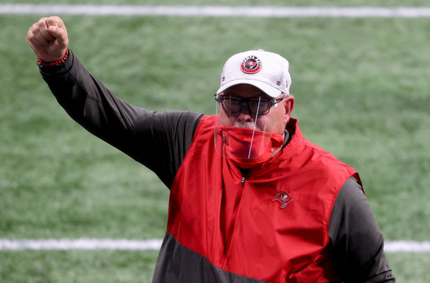 ATLANTA, GEORGIA - DECEMBER 20: Head coach Bruce Arians of the Tampa Bay Buccaneers celebrates after defeating the Atlanta Falcons in the game at Mercedes-Benz Stadium on December 20, 2020 in Atlanta, Georgia. (Photo by Kevin C. Cox/Getty Images)