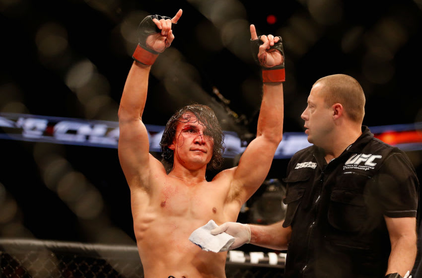 PHOENIX, AZ - DECEMBER 13: David Michaud reacts after defeating Garett Whiteley (not pictured) in an unanimous decision during the UFC Fight Night event at the at U.S. Airways Center on December 13, 2014 in Phoenix, Arizona. (Photo by Christian Petersen/Getty Images)