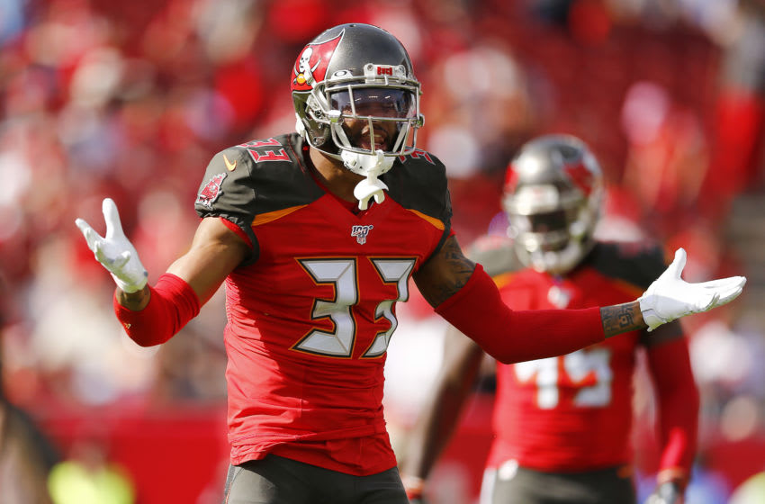 TAMPA, FLORIDA - DECEMBER 29: Carlton Davis #33 of the Tampa Bay Buccaneers reacts against the Atlanta Falcons during the first half at Raymond James Stadium on December 29, 2019 in Tampa, Florida. (Photo by Michael Reaves/Getty Images)